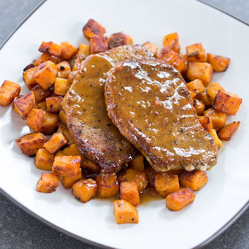 Pork Cutlets with Sweet Potatoes and Maple Pan Sauce Recipe - Cook's ...