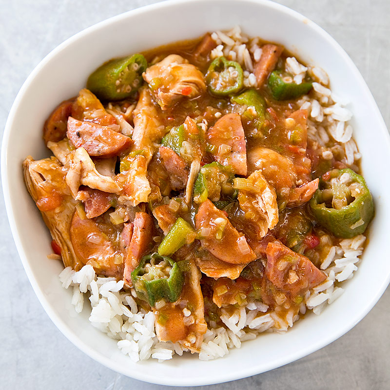 Chicken and Sausage Gumbo for Two