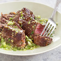 Steak Tips with Tomatillo Salsa  and Refried Black Beans