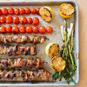 Spice-Grilled Pork Skewers with Grilled Tomato Relish