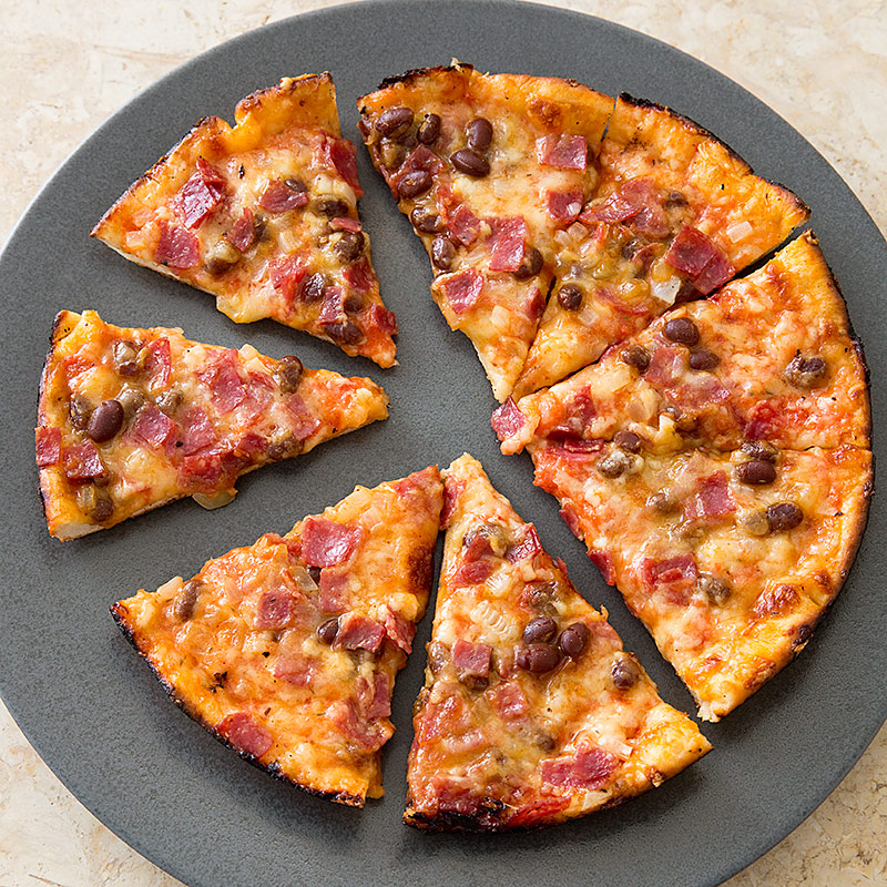 New England Bar Pizza with Baked Beans and Salami Recipe - Cook's ...