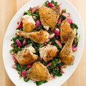 Crispy Chicken with Sauteed Radishes, Spinach, and Bacon