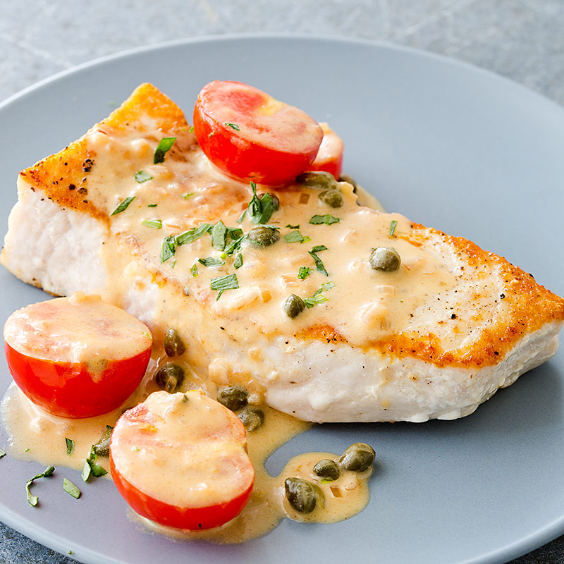 Pan seared swordfish with creamy dijon caper sauce for Sword fish recipes