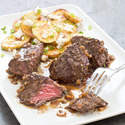 Steak Tips with Roasted Feta Potatoes