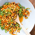 Chickpea Salad with Carrots, Arugula, and Olives