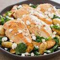 Lemony Chicken with Wilted Spinach and Potatoes