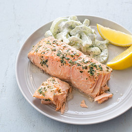 Detail sfs herb poached salmon cucumber dill salad 14