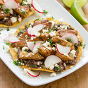 Chicken Tostadas with Spicy Mashed Black Beans