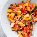 Peach and Tomato Salad with Pancetta and Basil