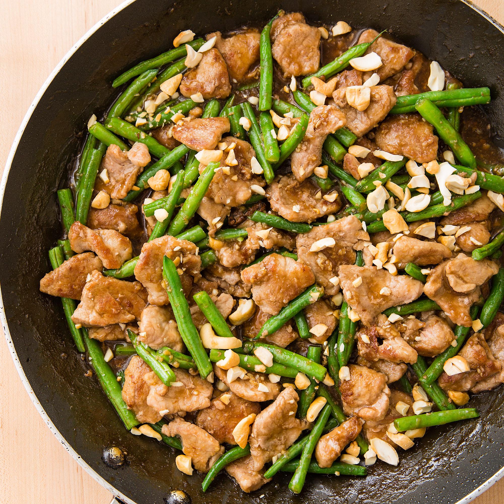Stir-Fried Pork with Green Beans and Cashews