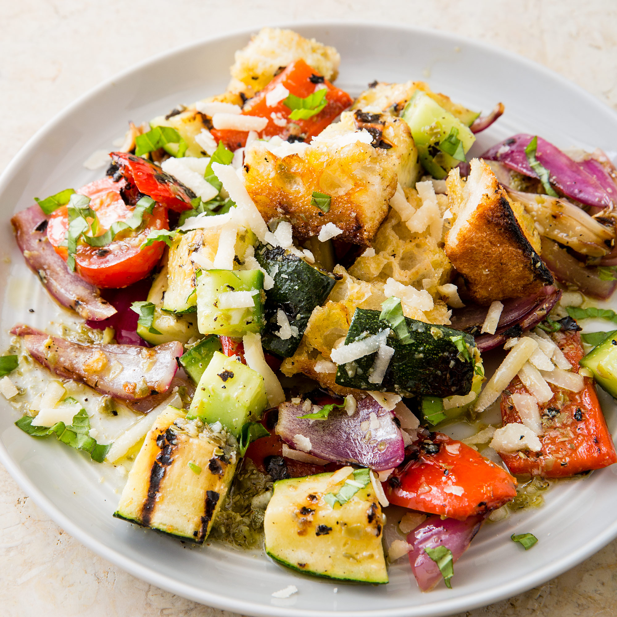 Greek Panzanella grilled panzanella salad | cook's country