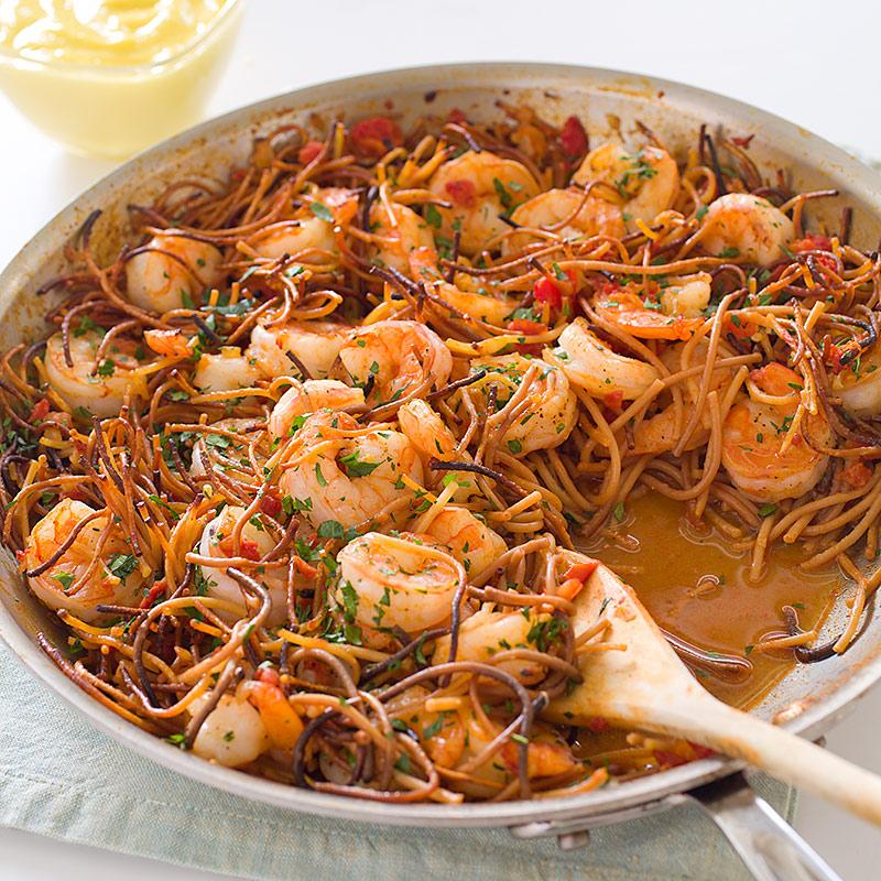 America S Test Kitchen Spanish Style Toasted Pasta With Shrimp