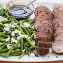 Pepper-Crusted Pork Tenderloin with Asparagus and Goat Cheese