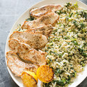 Turkey Cutlets with Barley and Swiss Chard