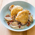 Roasted Chicken Thighs with Creamed Shallots and Bacon