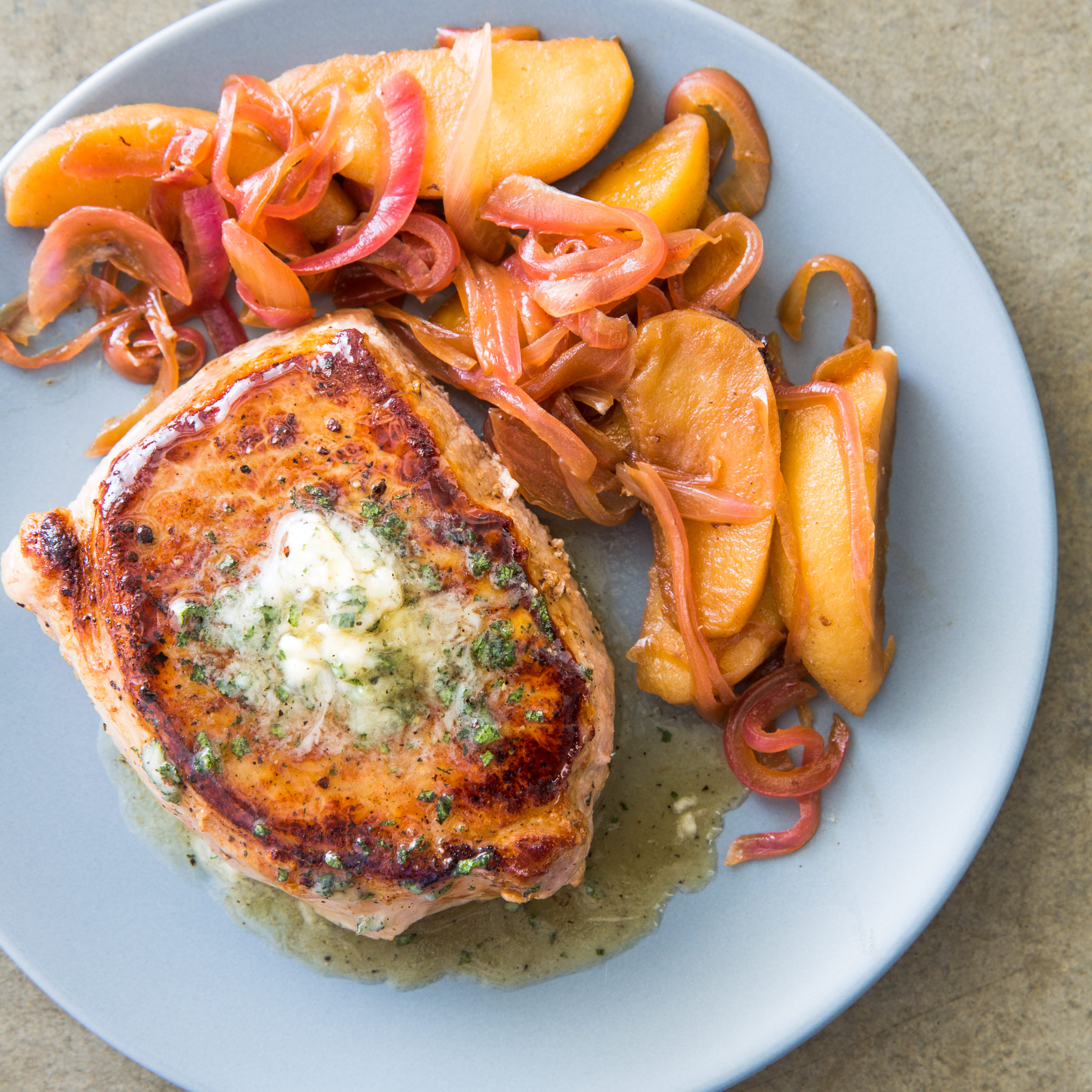 Skillet Pork Chops With Apples And Maple Sage Butter