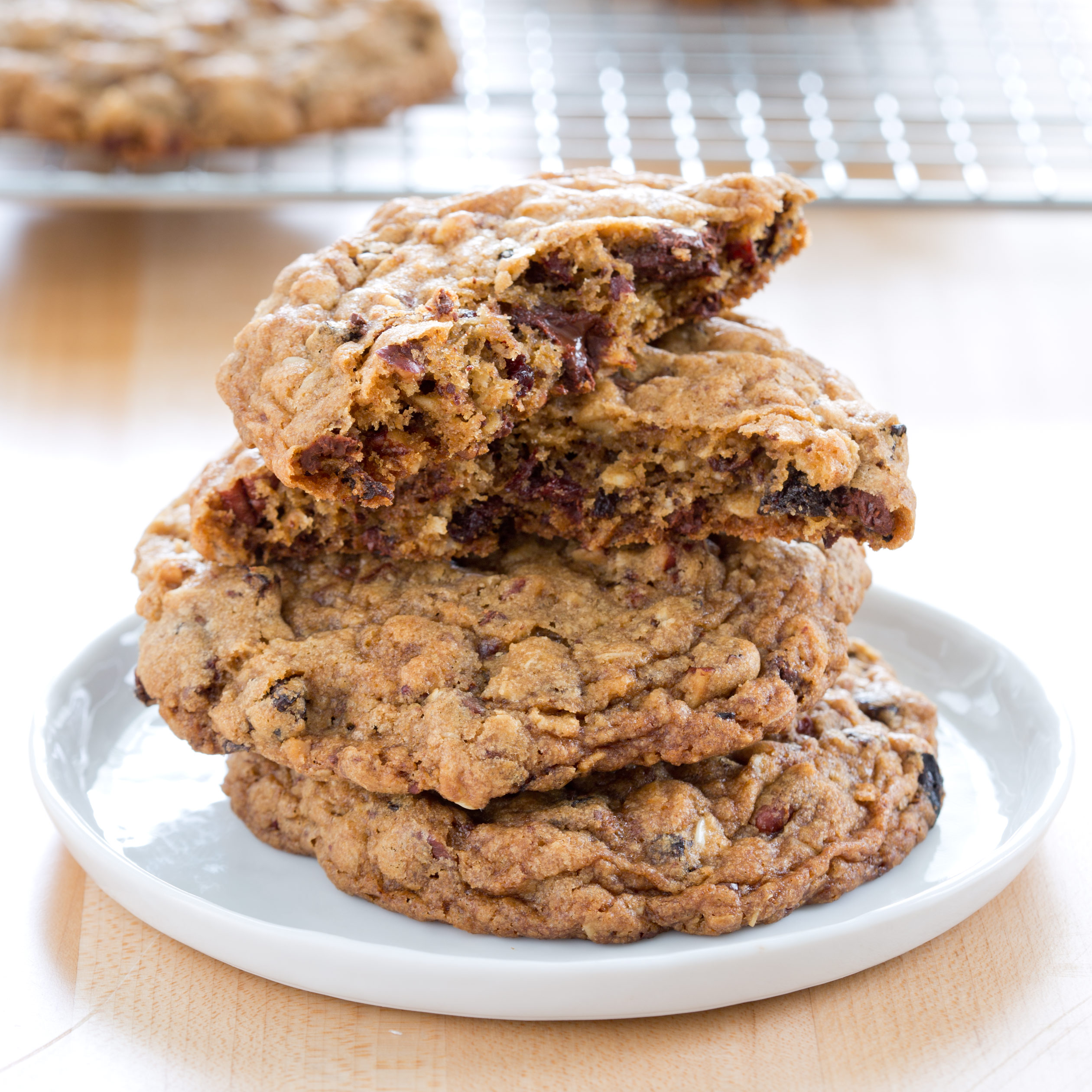 Chocolate-Chunk Oatmeal Cookies with Pecans and Dried Cherries Recipe ...