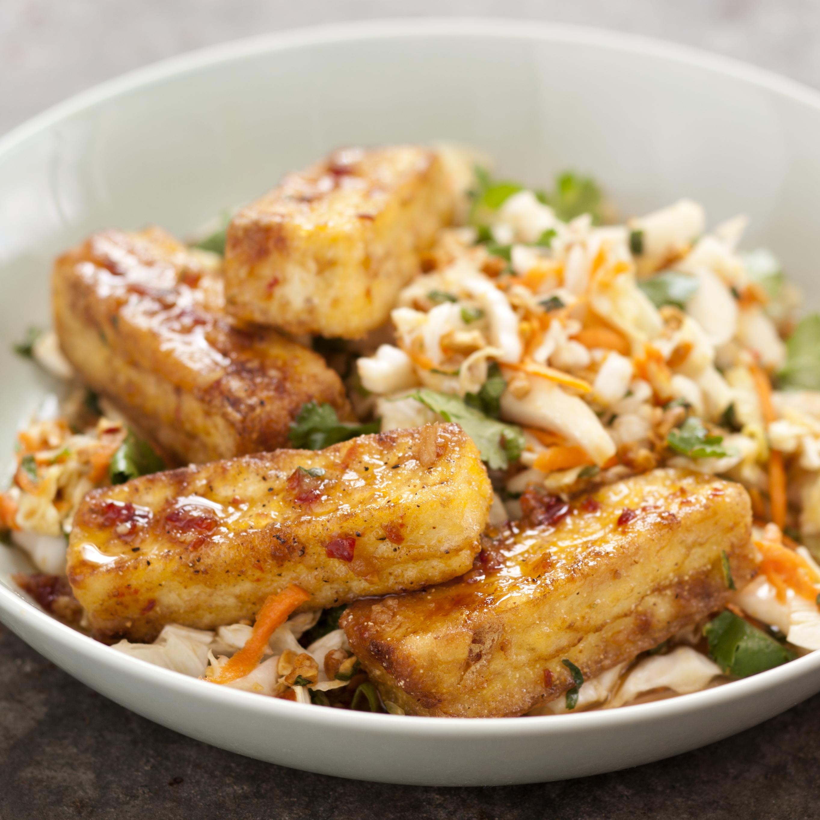 Warm Cabbage Salad with Crispy Tofu | America's Test Kitchen