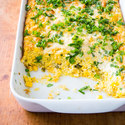 Cheesy Corn Casserole with Jalapenos and Cilantro Jalapeños