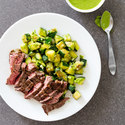 Pan-Seared Skirt Seak with Zucchini and Scallion Sauce
