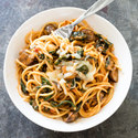 Spaghetti with Mushrooms, Kale, and Fontina