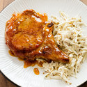 Peppered Pork Chops with Celery Root Salad