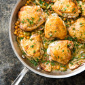 One-Pan Lemon-Braised Chicken Thighs with Chickpeas and Fennel