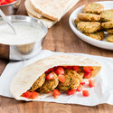 Crispy Falafel Pita with Yogurt Sauce