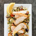 Pan-Seared Chicken with Warm Mediterranean Grain Pilaf