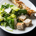 Swordfish Kebabs with Zucchini Ribbon Salad