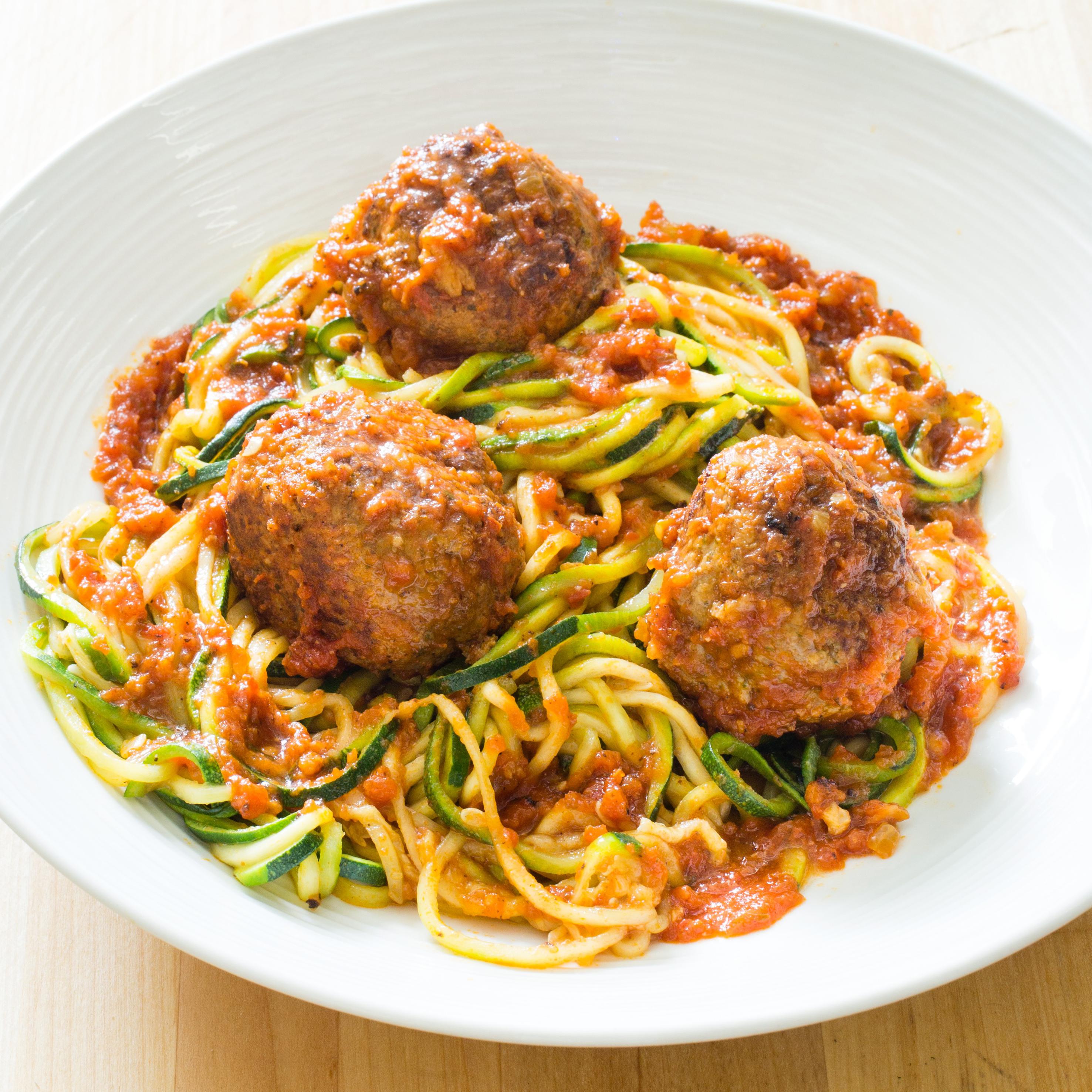 Paleo zucchini spaghetti and meatballs america 39 s test for Zucchini noodles and meatballs recipe