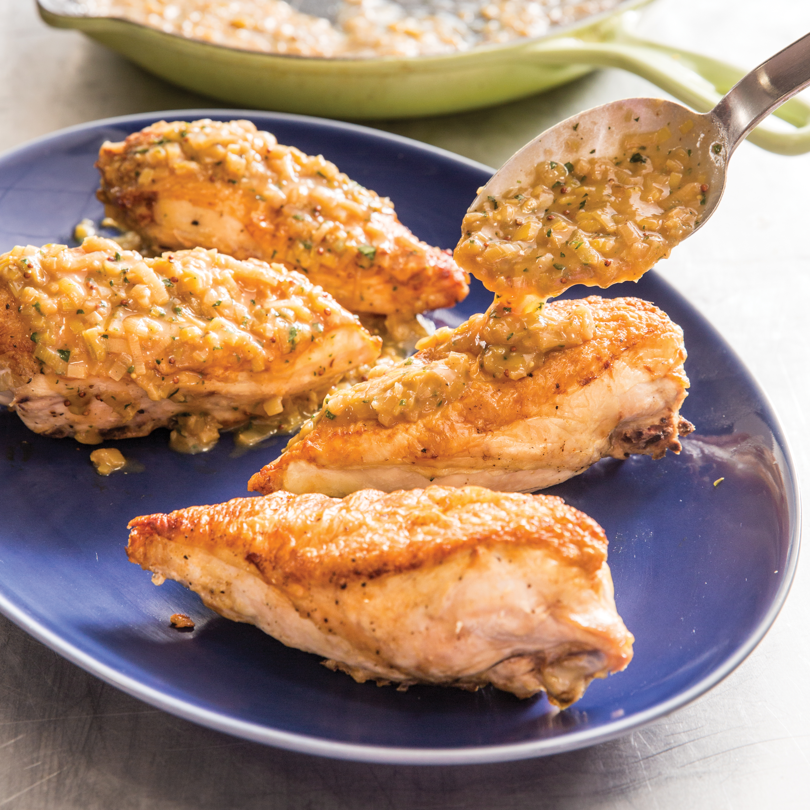 Cast-Iron Oven-Seared Chicken Breasts with Leek and Tarragon Pan Sauce