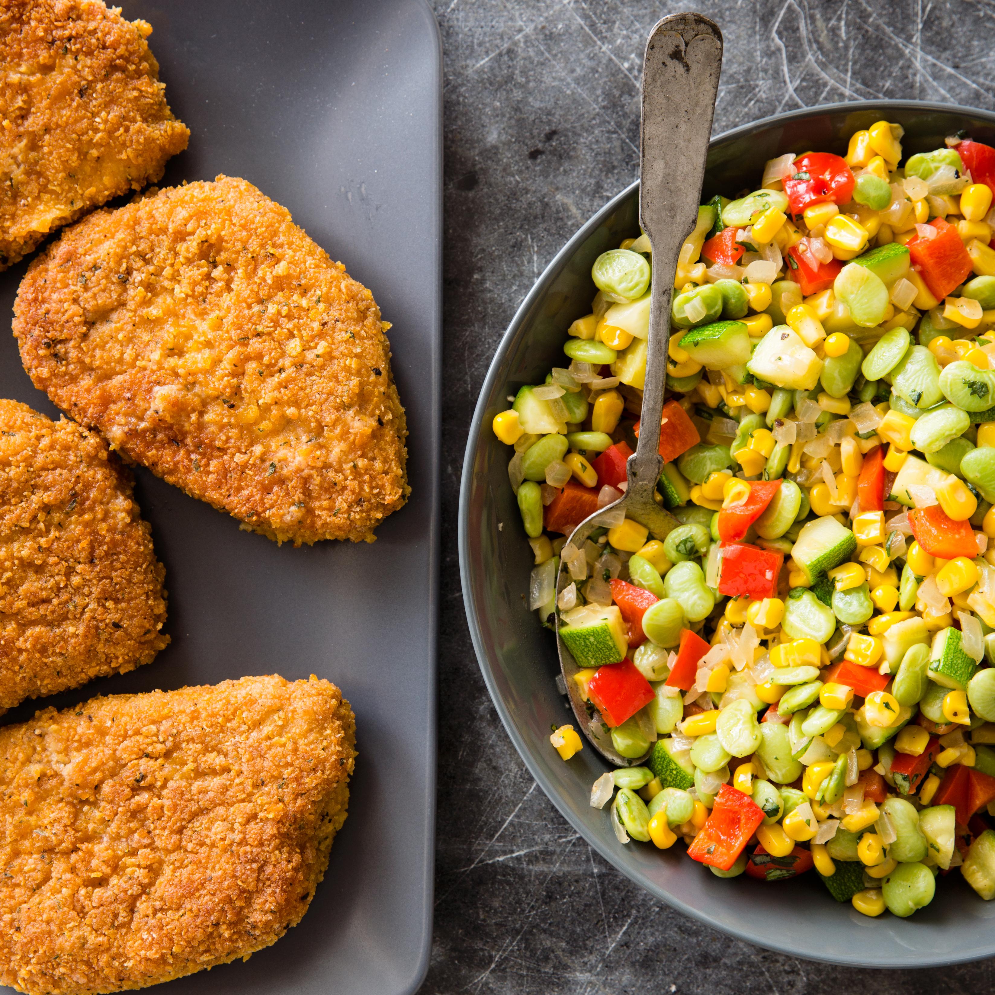 Cast Iron Crispy Pan Fried Pork Chops With Succotash America S Test Kitchen