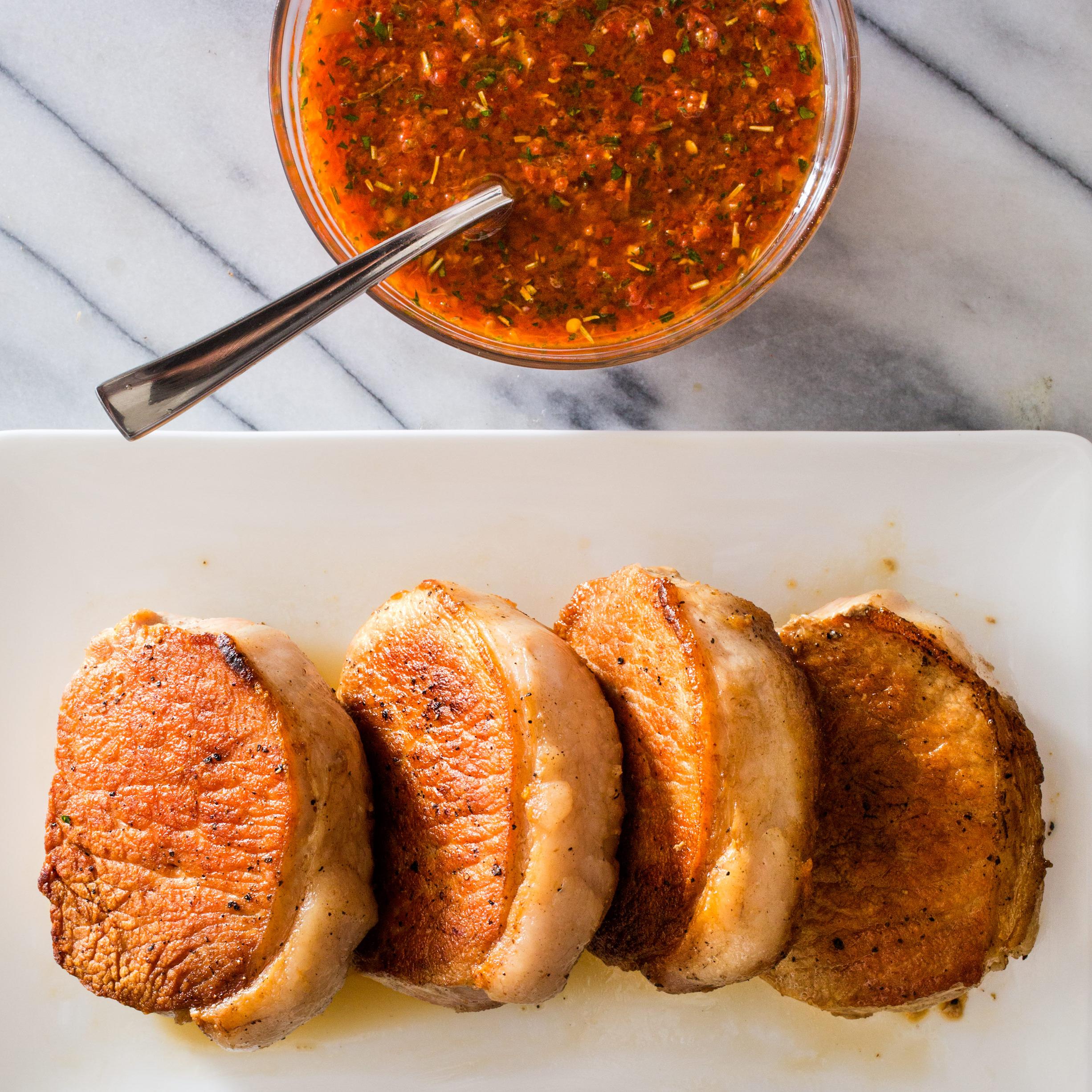 Pan Seared Thick Cut Boneless Pork Chops