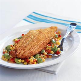 Cornmeal fried fish and succotash recipe america 39 s test for Fried fish recipe cornmeal