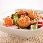 Stir-Fried Shrimp with Snow Peas and Red Bell Pepper in Hot and Sour Sauce
