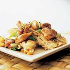 Spicy Stir-Fried Chicken and Bok Choy with Crispy Noodle Cake