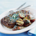 Grilled Steak and Potatoes with Garlic Butter