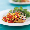 Grilled Chicken Breasts with Grilled Corn and Tomato Salad