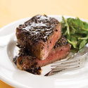 Pepper-Crusted Steak with Worcestershire-Butter Sauce