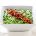 Creamy Peas with Bacon and Goat Cheese