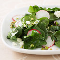 Lemon, Feta, and Pistachio Spinach Salad