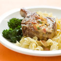 Pork Chops with Roasted Red Pepper Cream