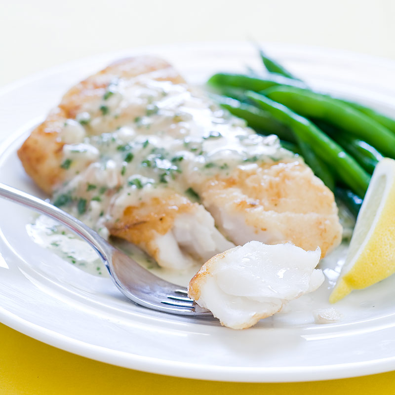 Pan seared cod with herb butter sauce for Herb cod recipe