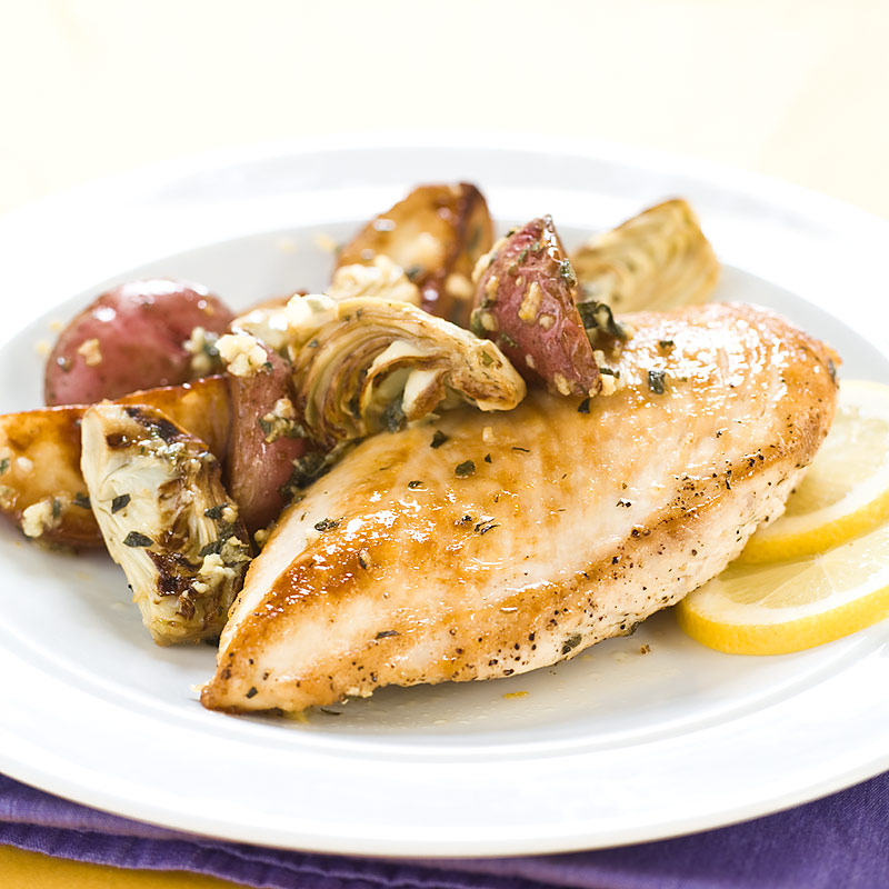 Lemon Chicken with Artichokes and Potatoes