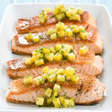 Seared Salmon with Mango-Mint Salsa