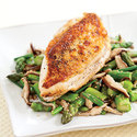 Roasted Chicken with Asparagus and Shiitakes
