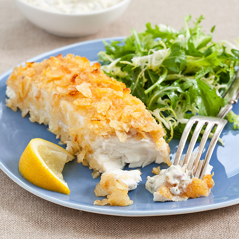 Potato-Crusted Halibut with Tartar Sauce