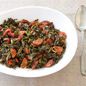 Braised Hearty Greens with Chorizo and Pimentos