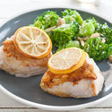 Roasted Lemon Chicken with Almond-Parmesan Broccoli